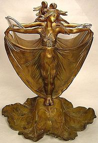Art Nouveau Mucha-style Ladies Bronze Double Sided Vase