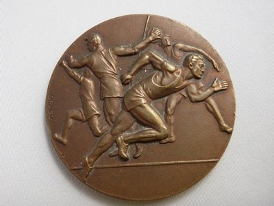 Art Deco Sg'd Drago Bronze  Summer Athletic / Olympic Medal