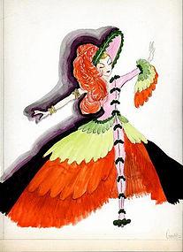 1940's Art Deco Original Watercolor Illustration Art by Groff