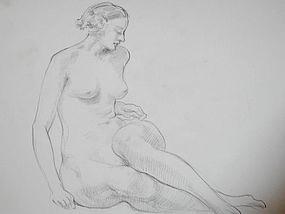 Art Deco 1930  Arthur Royce Bradbury Nude Female Drawing No. 1