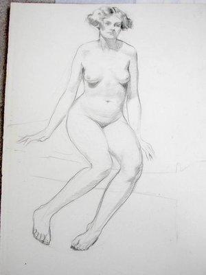 Art Deco Nude Drawing by Listed Arthur Royce Bradbury No 3