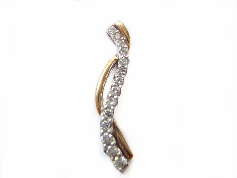 Vintage Infinity 14 Diamond Two Tone 10k Gold Pendant Necklace