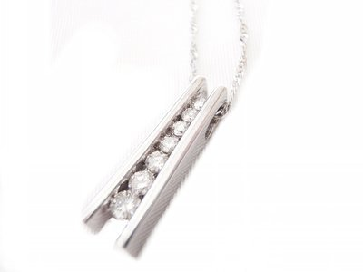 7 Diamond Bar Pendant Necklace 10K White Gold Infinity Diamonds