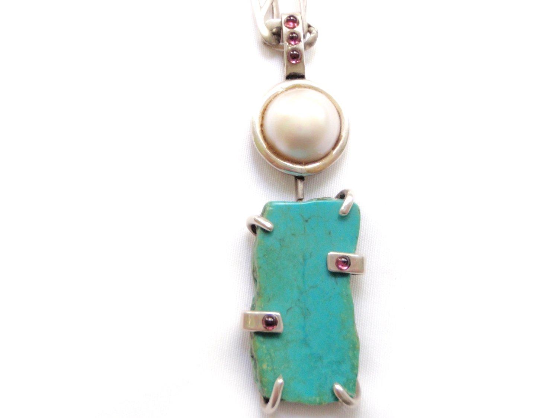 Artisan Silver Turquoise Mabe Pearl Garnet Pendant