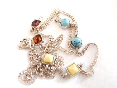 Vintage Turquoise Amber Silver Station Necklace