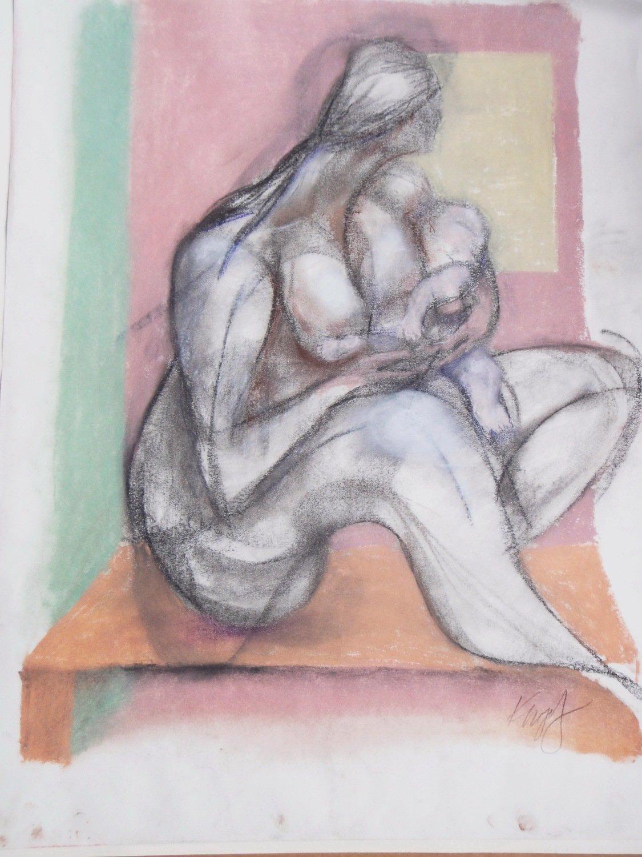 Celebrating Motherhood by Diane Knopf Mother Nursing Infant Painting
