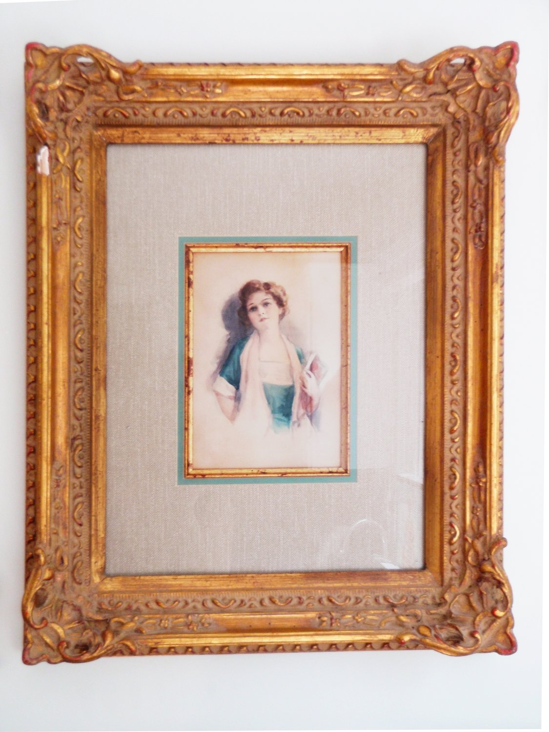 Vintage Young Lady Watercolor Painting Decorative Gilt Frame