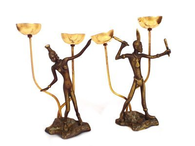 2 Art Deco Bronze Incense Burners African Nude Bronze Figurines