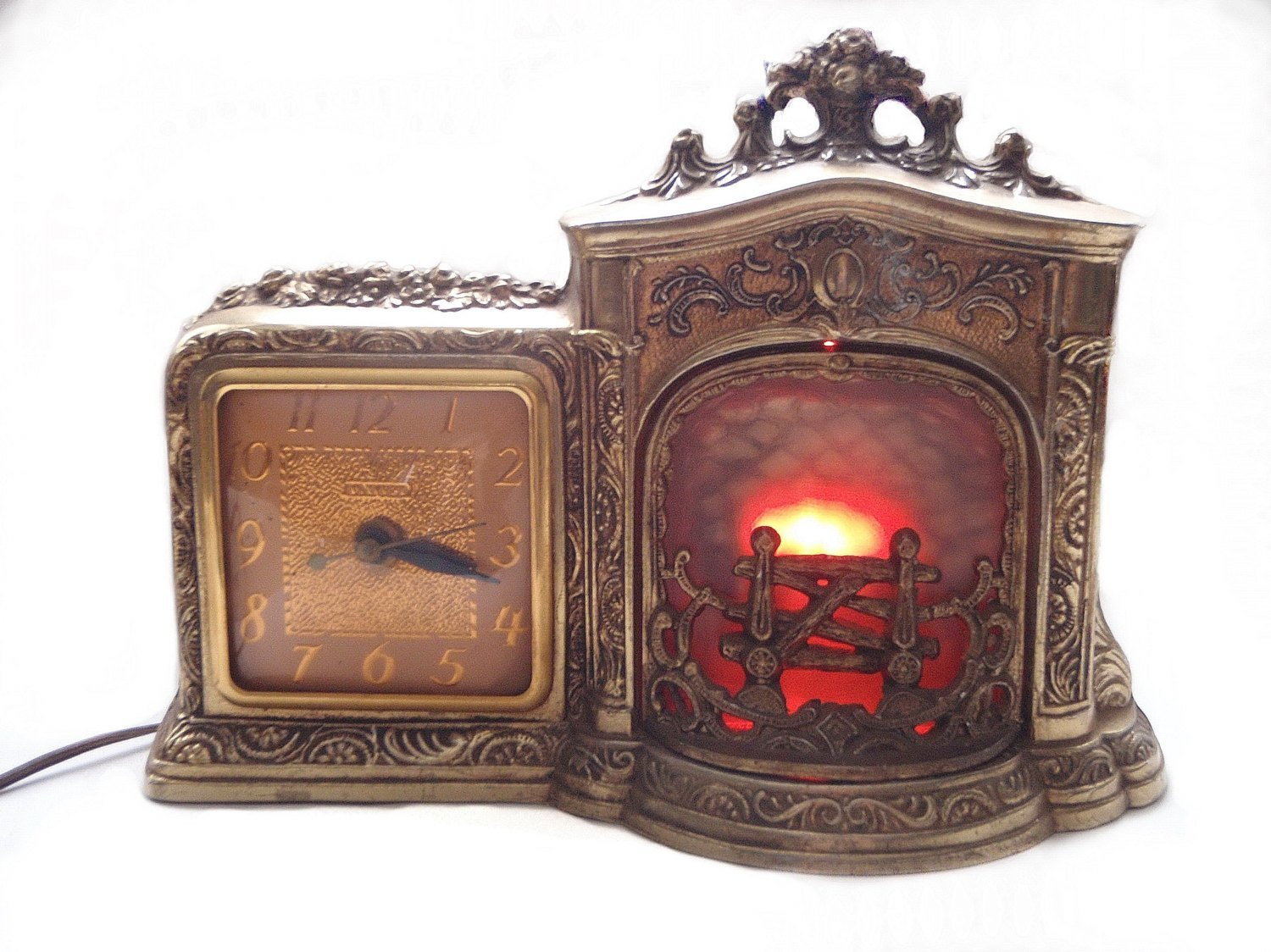 1930s Fireplace Clock Motion Flickering Flames United Clock