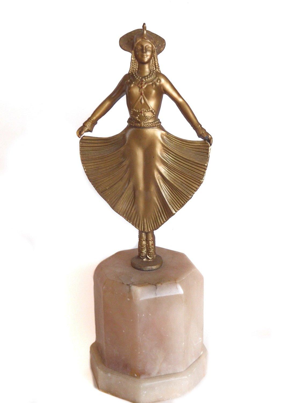 Art Deco 1930s  Ziegfeld Girl Theater Dancer Gilt Sculpture