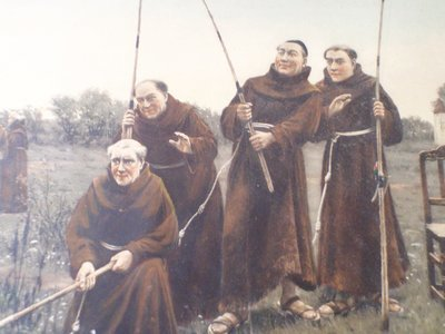 Antique Friary Colored Lithograph Franciscan Monks Fishing