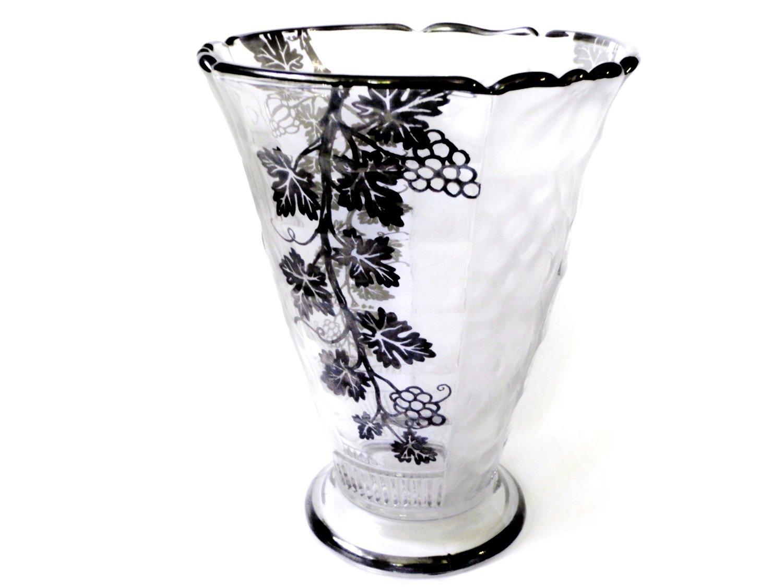 Val St. Lambert Vase Belgian Crystal Sterling Overlay Vase