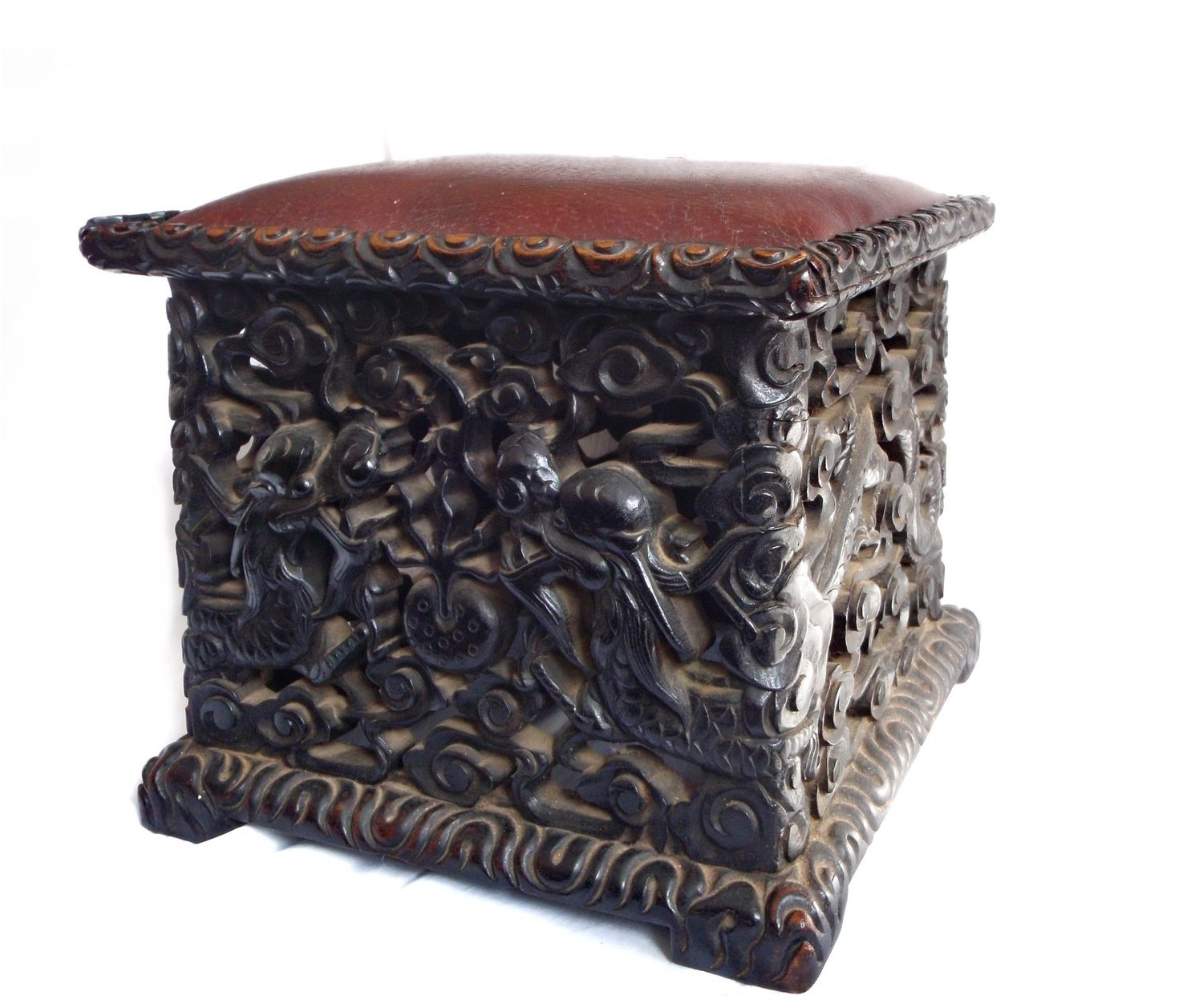 Chinese Antique Qing Double Dragon and Flower Rosewood Stool