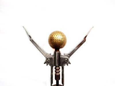 Vintage Brass Golf Ball Corkscrew Golfing Barware - Bottle Opener
