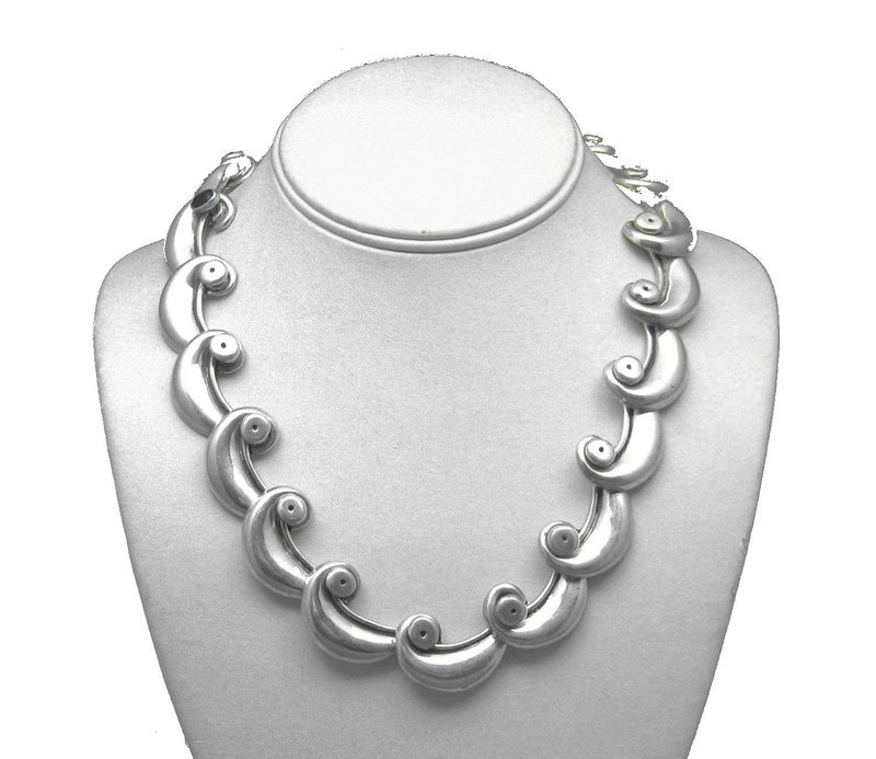 Vintage Mexican Hinged Waves Link Necklace 150.5 Grams