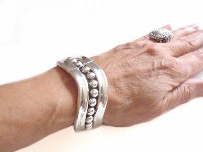 Vintage Taxco Mexico Hinged Bangle Wave Cuff Bracelet