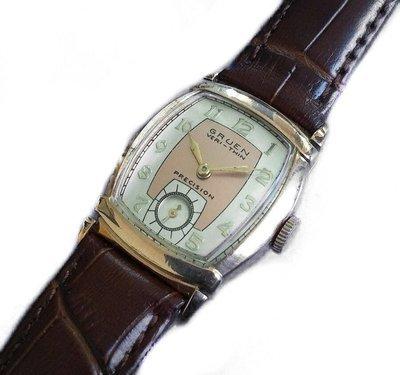 1940s Gruen Veri Thin Salmon White Two Tone 10k RG Dress Watch