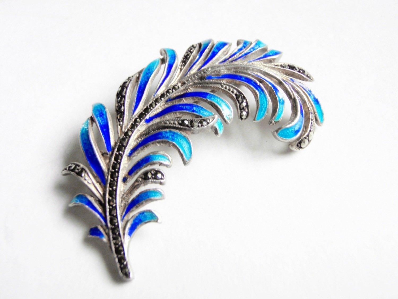1920s Art Deco Blue Enamel Marcasite Silver Brooch