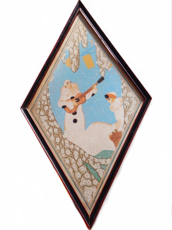 Art Deco Harlequin Lovers Painting Pierrot Pierrette M Leone