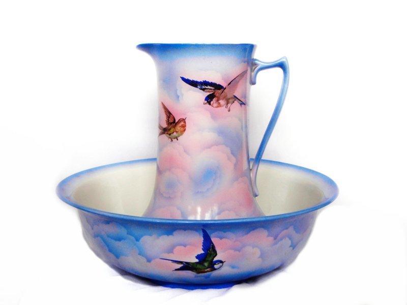 1890 Art Nouveau British Transferware Wash Basin Pitcher Birds