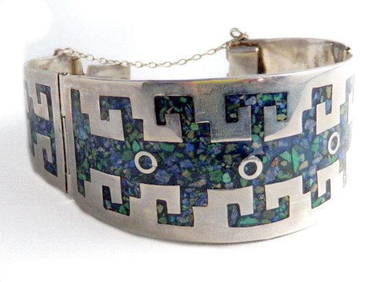 Mid-Century Taxco Azurite Malacite Cuff Bracelet Sg'd MMP
