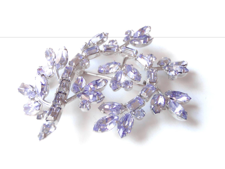 Byer Bros Lavender Mixed Rhinestone Stones Flower Brooch