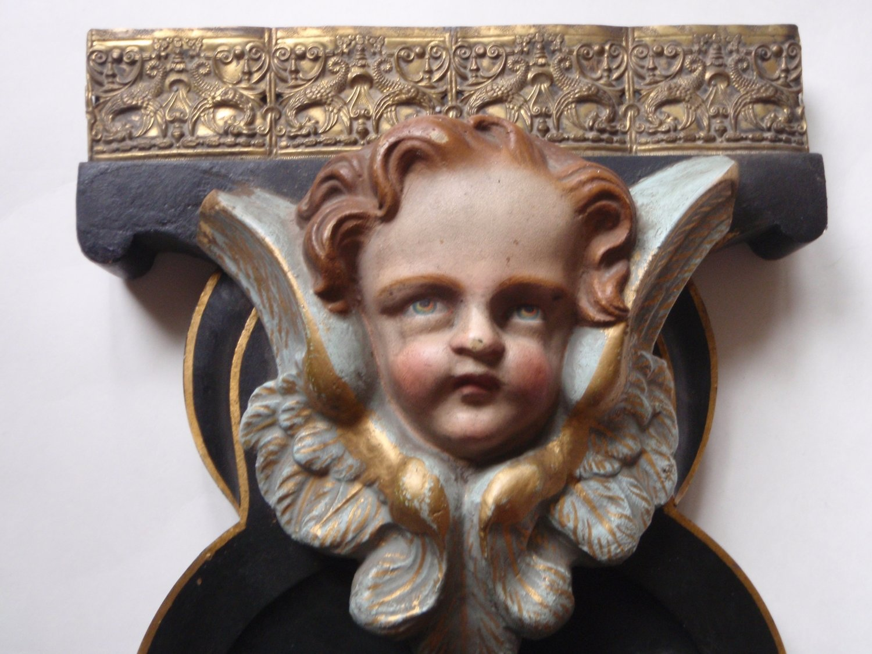 Antique 1850 Cherub Angel Religious Church Bronze Accent