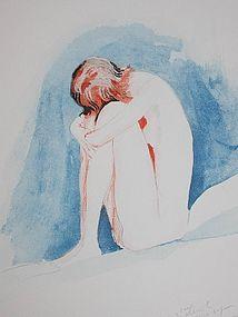 Jean Gabriel Domergue Pensine Watercolor Nude Painting Sg'd