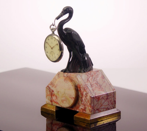 French 1920's - 30's Art Deco Heron Sculpture Watch Holder