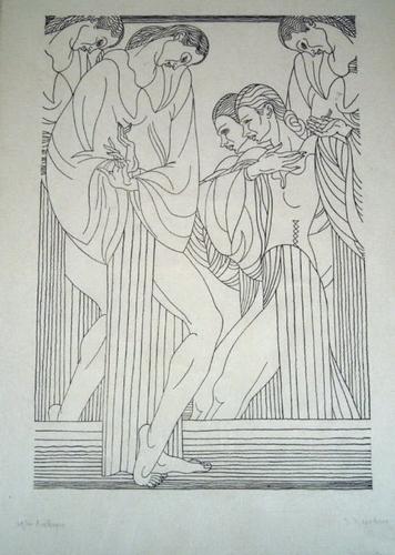 Art Deco 1933 Jean Negulesco Arabesque 29/100 Wood Cut