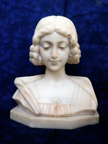 Large 19th Century Two-tone Marble Renaissance Lady Bust Sculpture