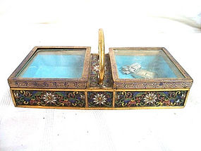 19th Century Japanese Cloisonne and Brass 2 Compartment Box, Trinket Tray, Card Holder