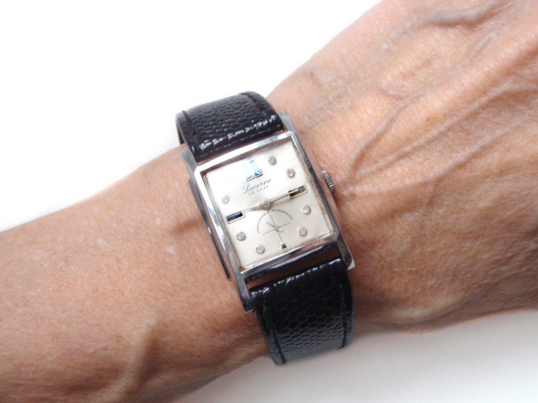 Vintage Lucerne Sapphire Baguettes Vintage Unisex Watch