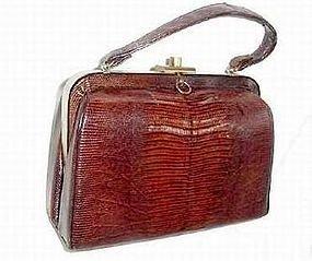 30's to 40's Art Deco Genuine Alligator Vintage Handbag / Purse