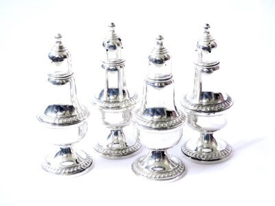 4 Antique D.J. Mahoney NY Silver Salt and Pepper Shakers