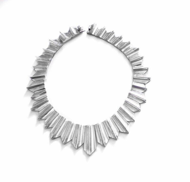 Antonio Pineda Zig Zag Necklace MCM Taxco Mexican 970 Silver