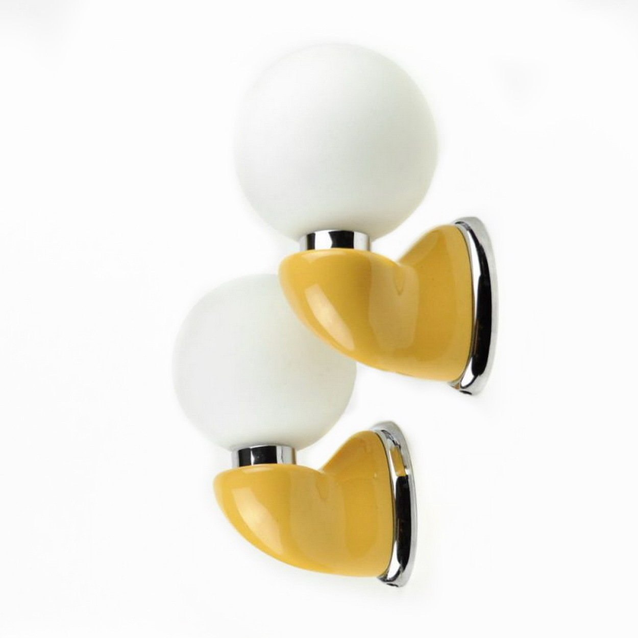 1970s Luigi Colani Wall Sconces Villeroy Boch Yellow Space Age Modernist Lighting
