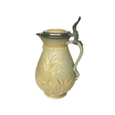 Villeroy Boch Mettlach Lidded Gold Jug Pitcher V & B Carafe Water Vessel