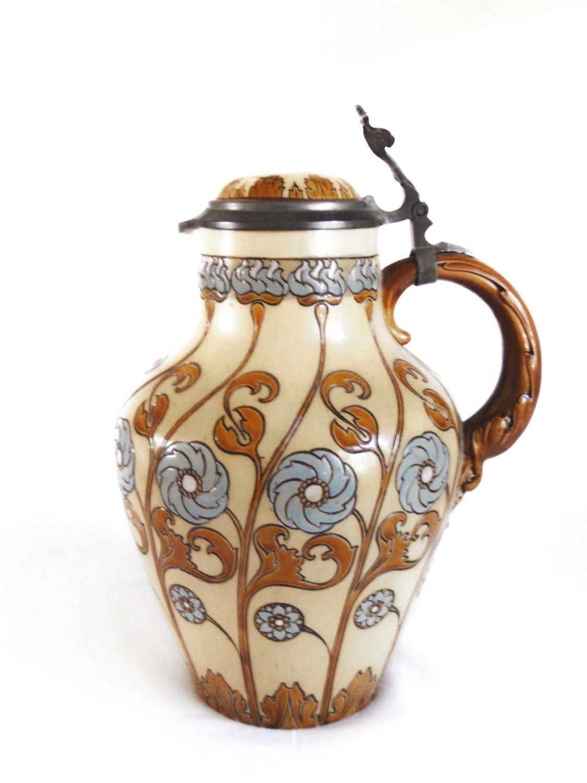 1800s Jugendstil Villeroy Boch Pitcher Mettlach V & B  Water Wine Beer Jug