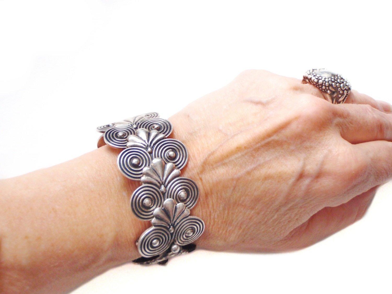 Vintage Taxco Silver Cuff Bracelet Art Deco  Flexible Links