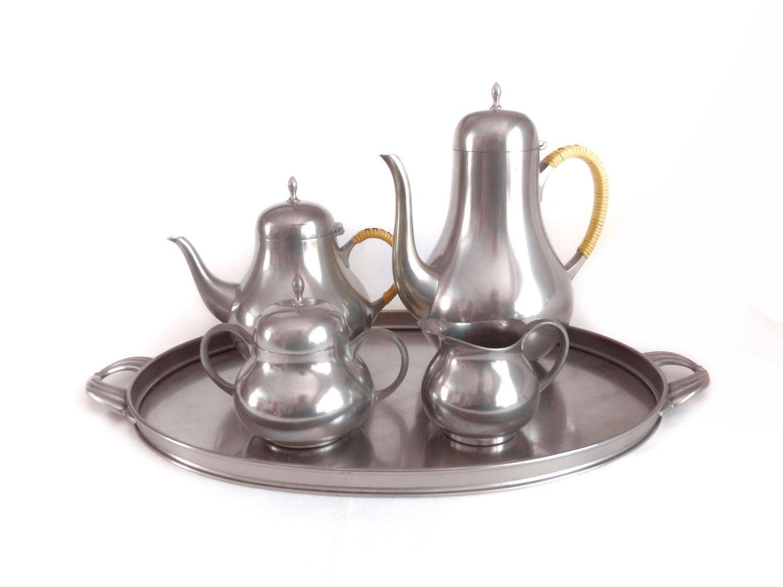 Vintage Scandinavian Pewter 5 Pc Tea Set MCM Coffee Tea Service