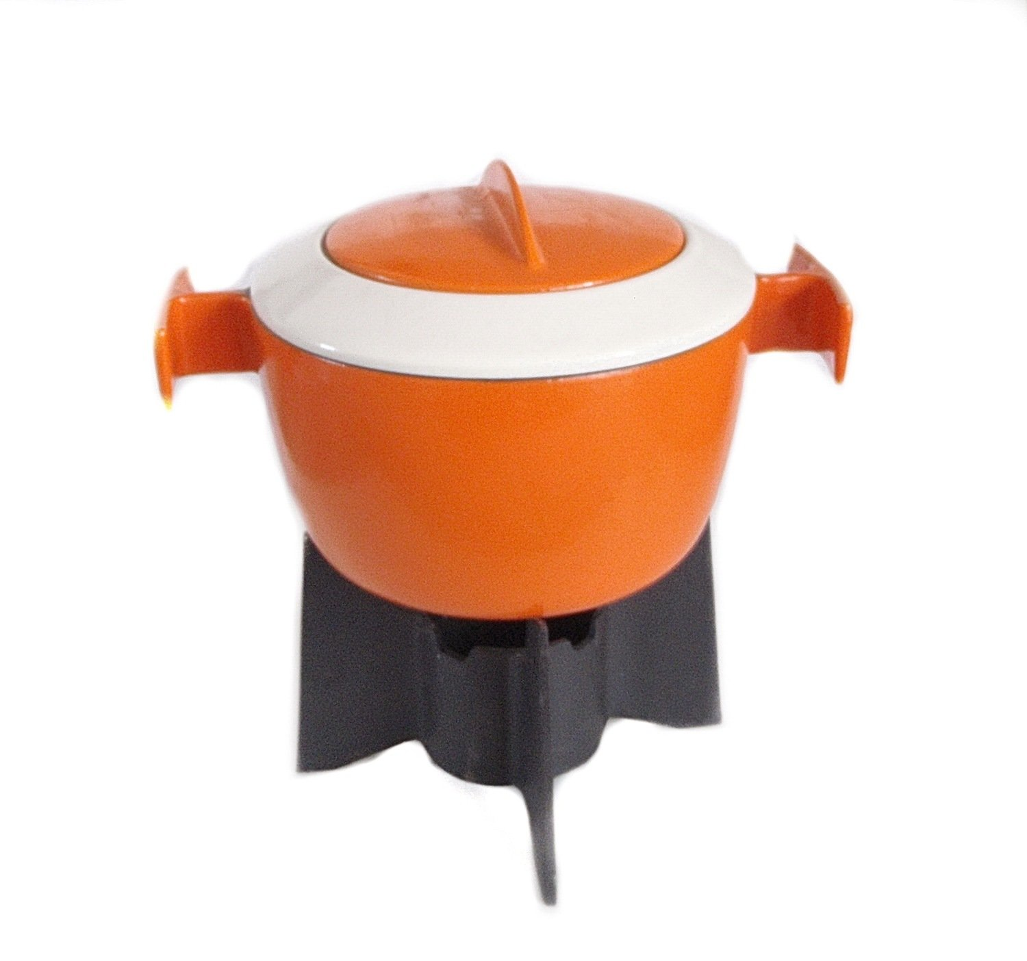Mid Century Belgian Cast Iron Orange Enamel Fondue Set