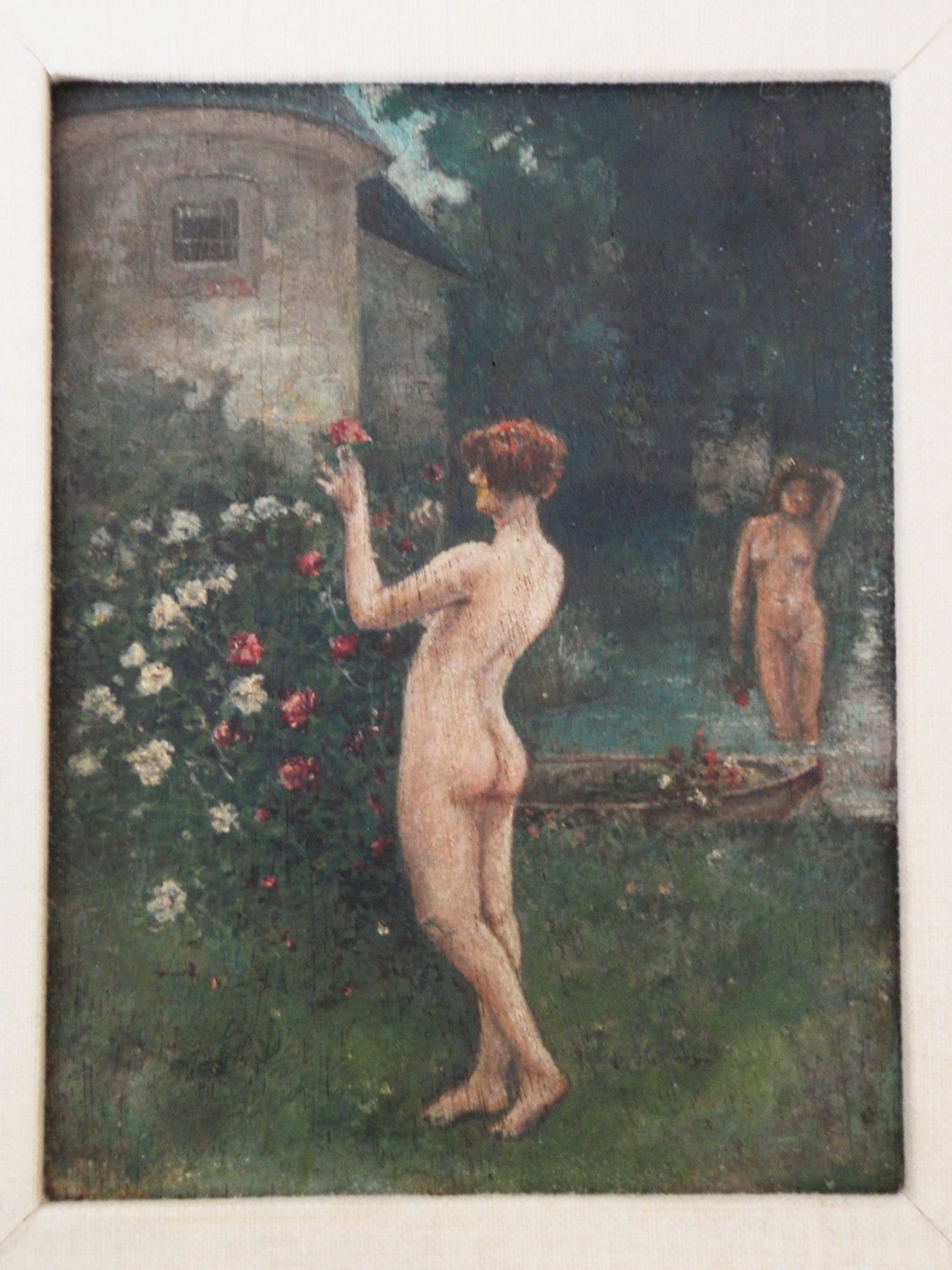 1920s Art Deco Nude Women Framed Oil Painting Naked Flappers in English Garden