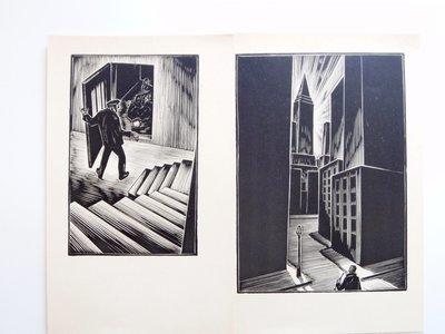 7 Lynd Ward Woodblock Prints Gods Man 1929 Art Deco