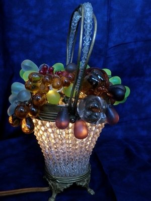 Art Nouveau 1910 Czech Crystal Fruit Bronze Basket Table / Accent Lamp