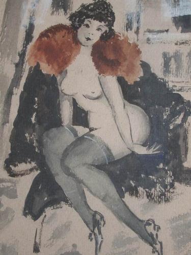Art Deco Era 1920s Watercolour Painting Russian Konstanin Ivanovitch Rudakov