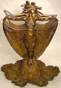 Art Nouveau Mucha-style Ladies Bronze Double Sided Vase
