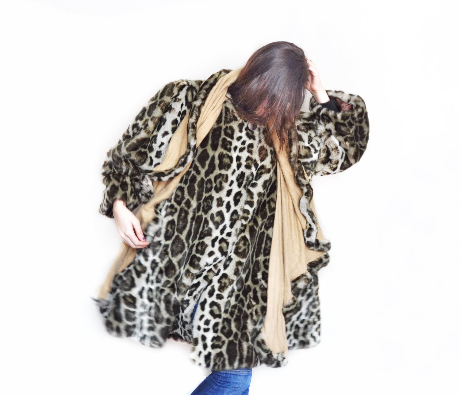 1980s French Cashmere Faux Leopard Fur Swing Coat Shawl Vintage Glam