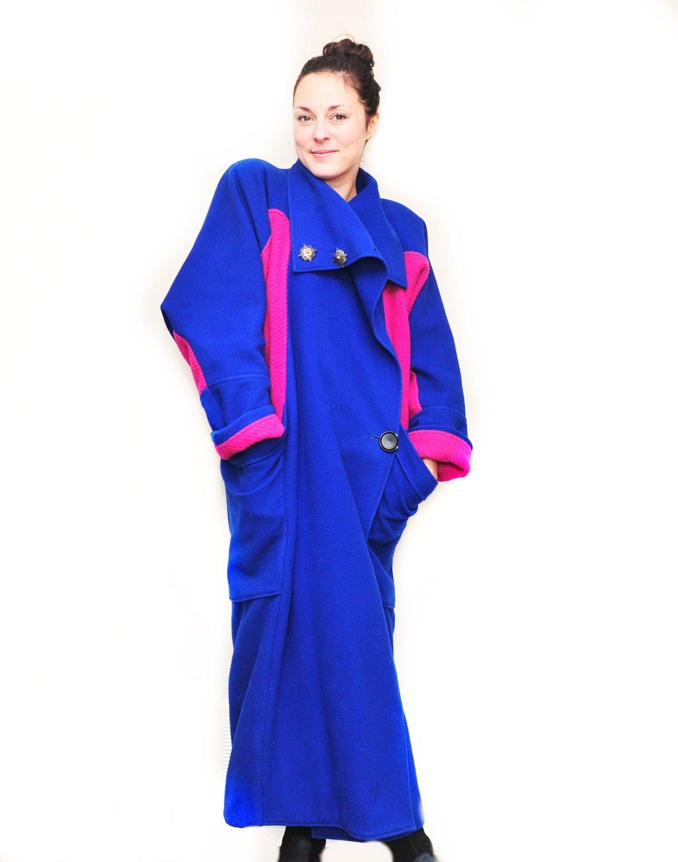 1980s Custom Wool Full Length Coat Cobalt Blue Fuschia Pink