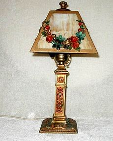 Ronson AMW Gilt and Polychromed Slag Glass Table Lamp